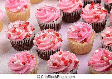 rosa, giorno valentine, cupcakes