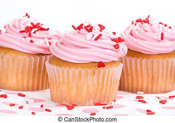 rosa, giorno valentines, cupcakes