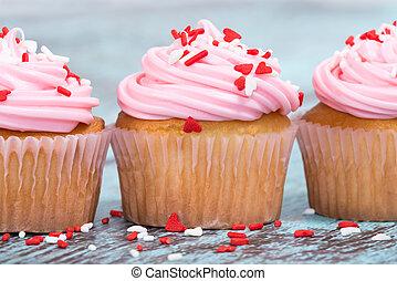 rosa, giorno valentines, cupcakes, con, spruzzatine