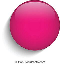 rosa, glas, cirkel, knapp, ikon