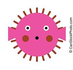 rosa, globefish, ilustración, plano