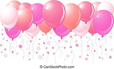 rosa, globos, vuelo, arriba