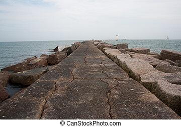 rosa, golfo, méxico, embarcadero, mar, granito, tejas