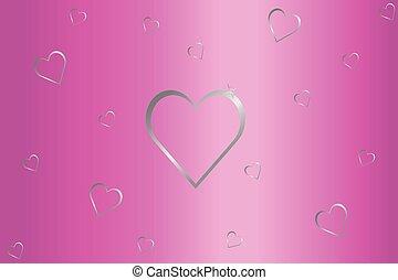 rosa, grå, silver, bakgrund, hjärtan