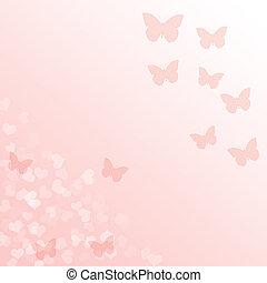 rosa, gradiente, plano de fondo, con, mariposas, y,...