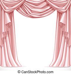 rosa, grande, aislado, cubierto, plano de fondo, lambrequins...