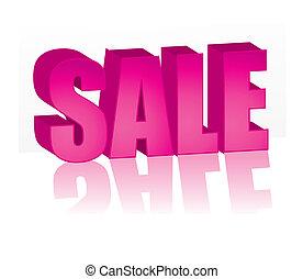 rosa, grande, venta, ilustración, vector, palabra