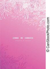 rosa, grenverk, vertikal, träd, glödande, bakgrund
