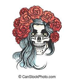 rosa, grinalda, cranio
