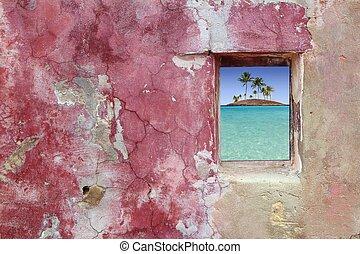 rosa, grunge, pared, isla, árboles, ventana, palma, rojo