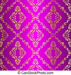 rosa, guld, swirly, mönster, seamless, indisk