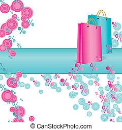 rosa, hänger lös, inköp, abstrakt, vektor, cyan