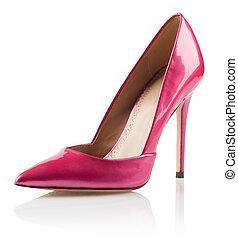 rosa, hög, kvinna, sko, häl