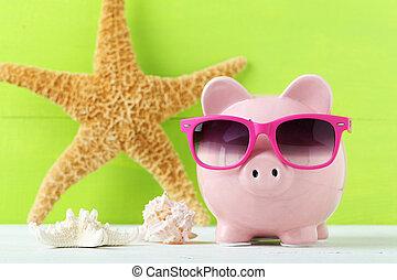 Rosa, hölzern, Schweinchen, hintergrund, weißes,  bank