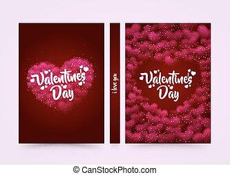rosa, hearted, plano de fondo, con, un, valentine, día,...