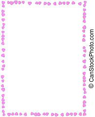 rosa, hecho, valentino, marco, resumen, plano de fondo, pequeño, corazones, blanco, día, 3d