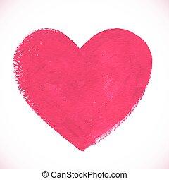 rosa, herz, gemalt, farbe, textured, acryl