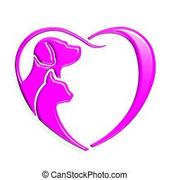 rosa, herz, grafik, liebe, hund, katz, 3d