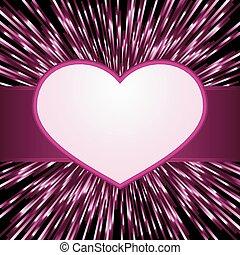 rosa, herz, groß, entwürfe, explosion, romantische , raum, lila, licht, rahmen, valentines, text., dein, day., zentriert, oder