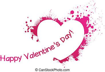 rosa, herz, grunge, valentine