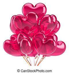 rosa, herz, liebe, dekoration, geburtstagparty, luftballone, rotes , glücklich