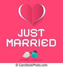 rosa, herz, liebe, gerecht, symbol, verheiratet, vektor, retro, vögel, karte