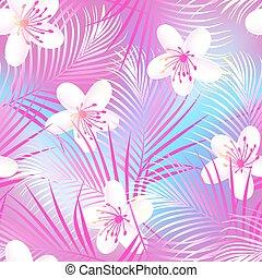 rosa, hibisco, palmas, frangipani, seamless, tropical, patrón