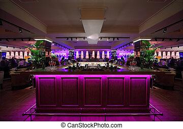 rosa, hinder, restaurang, trä, disk, stort, belysning
