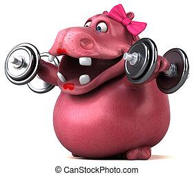 rosa, hipopótamo, -, 3d, ilustración