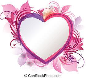 rosa, hjärta, blommig, bakgrund