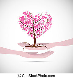 rosa, hjärta gestaltade, abstrakt, träd, människa lämnar