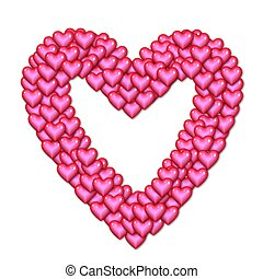rosa, hjärta, gjord, hjärtan