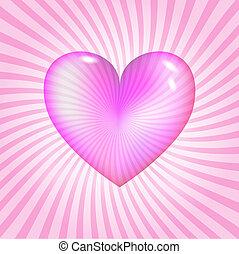 rosa, hjärta, glasaktig