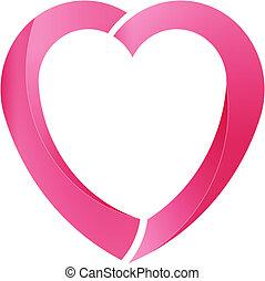 rosa, hjärta, kärlek, vektor, logo, välgörenhet