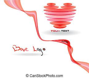 rosa, hjärta, logo