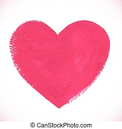 rosa, hjärta, målad, färg, strukturerad, akryl