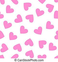 rosa, hjärta mönstra, seamless, bakgrund., årgång, vit