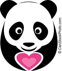 rosa, hjärta, panda