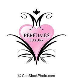 rosa, hjärta, parfymer, vektor, logo