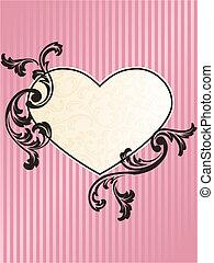 rosa, hjärta, romantisk, format, ram, fransk, retro