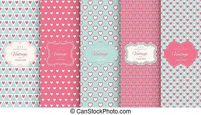 rosa, hjärta, seamless, fond mönstra