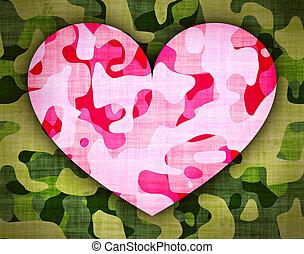 rosa, hjärta, %u2013, grön, kamouflage