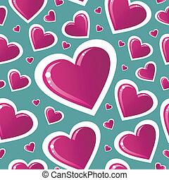 rosa, hjärta, valentinbrev, kärlek, mönster