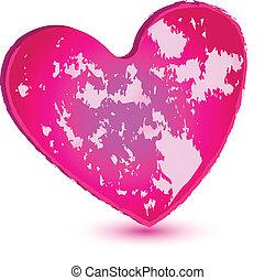rosa, hjärta, vektor, grunge, logo