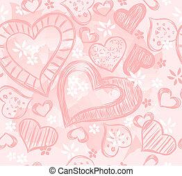 rosa, hjärtan
