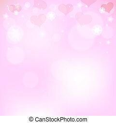rosa, hjärtan, dag, bakgrund, valentinkort