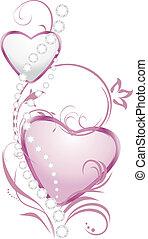rosa, hjärtan, silver, lysande