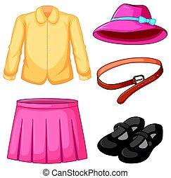 rosa, hut, m�dchen, rock, kleidung