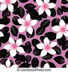 rosa, ibisco, modello, foglie, seamless, tropicale, nero, fiori