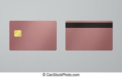 rosa, ic, tarjeta oro